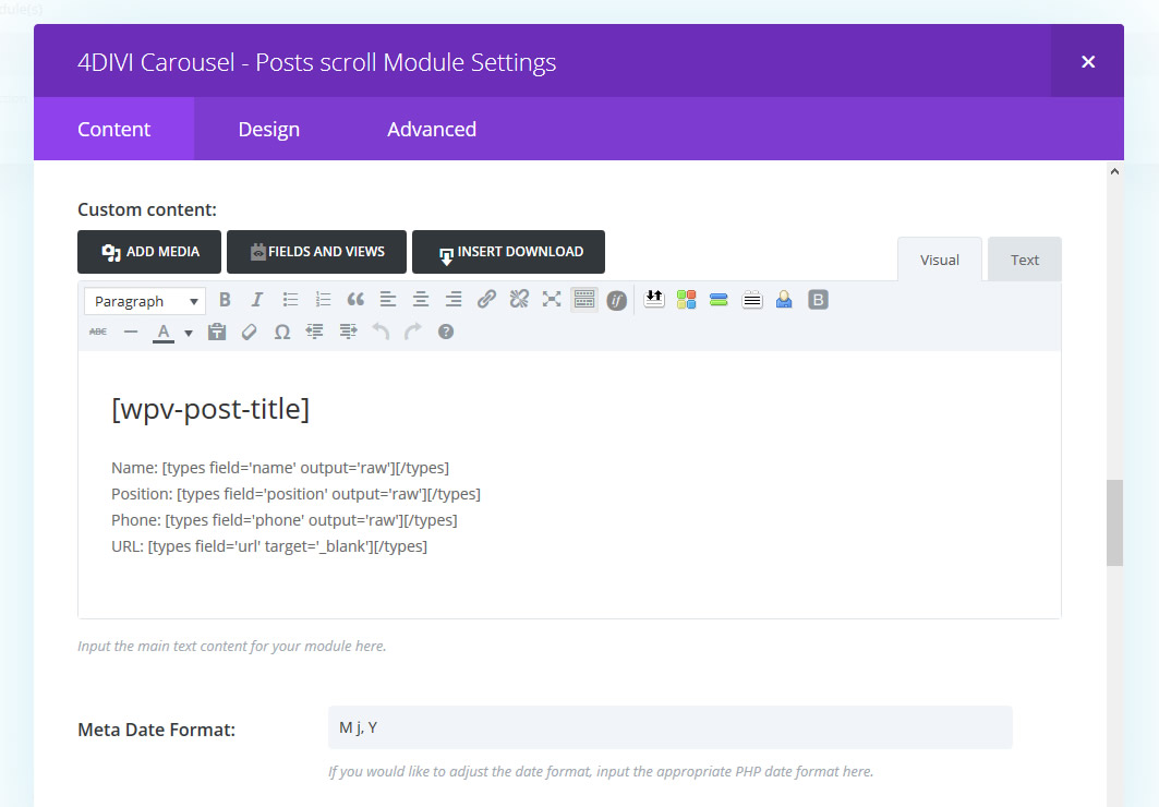 Set custom content include html for post types
